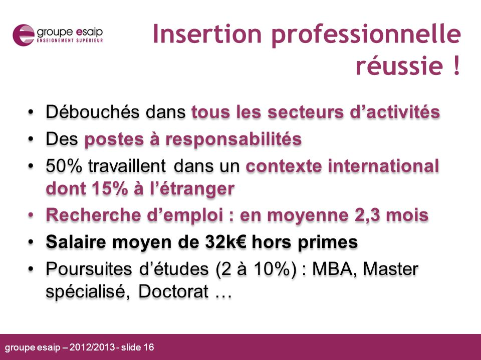Insertion professionnelle réussie !