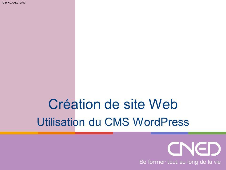Utilisation du CMS WordPress