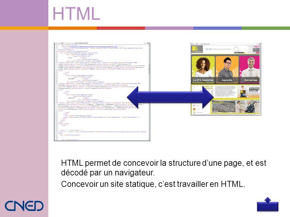 HTML HTML permet de concevoir la structure d'une page, et est décodé par un navigateur.