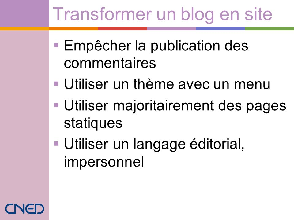 Transformer un blog en site