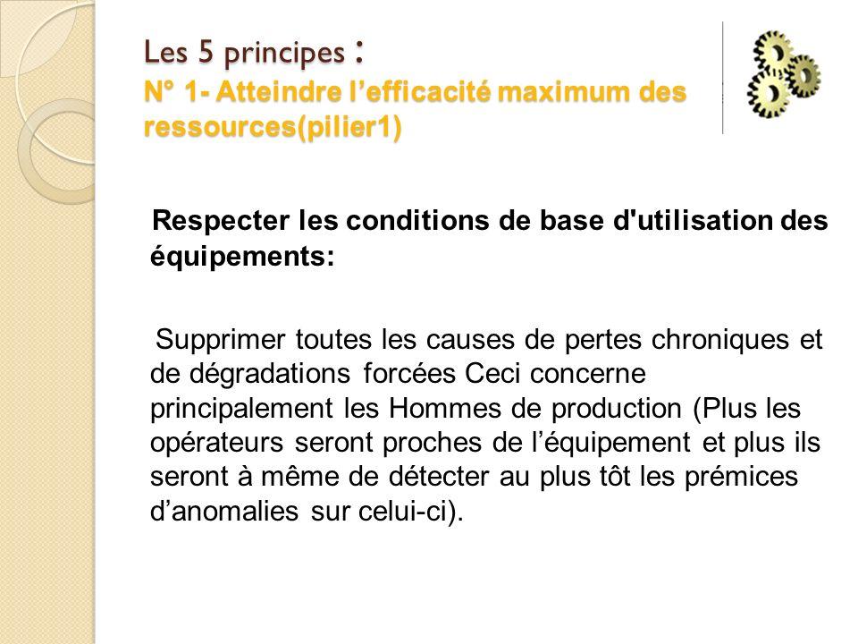 Les 5 principes : N° 1- Atteindre l'efficacité maximum des ressources(pilier1)