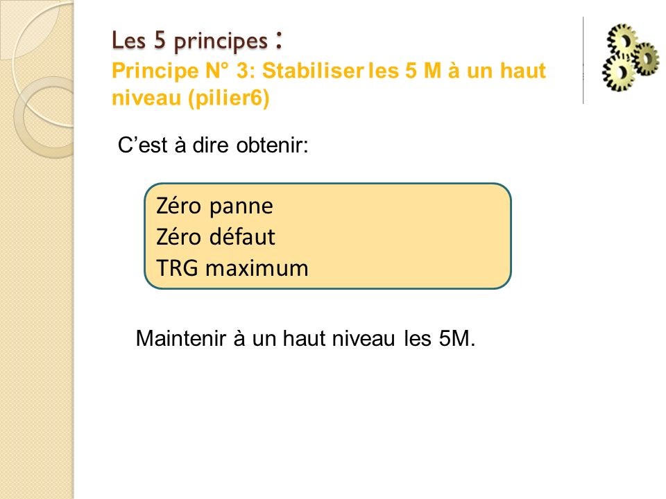 Les 5 principes : Principe N° 3: Stabiliser les 5 M à un haut niveau (pilier6)