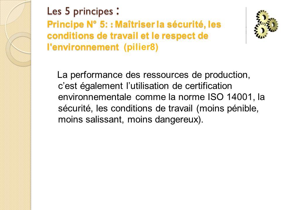 Les 5 principes : Principe N° 5: : Maîtriser la sécurité, les conditions de travail et le respect de l environnement (pilier8)