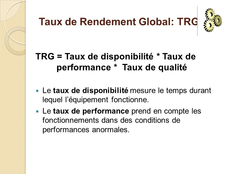 Taux de Rendement Global: TRG