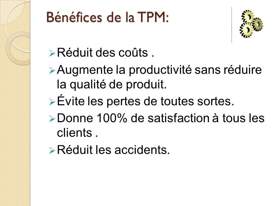 Bénéfices de la TPM: Réduit des coûts .