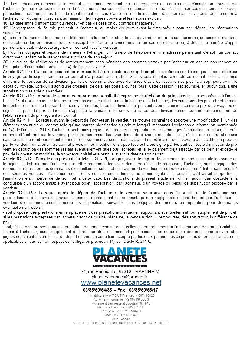 www.planetevacances.net 24, rue Principale / 67310 TRAENHEIM
