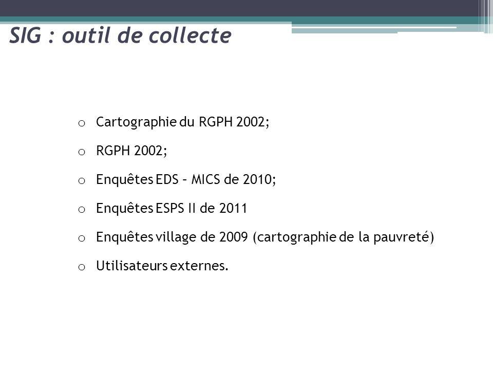 SIG : outil de collecte Cartographie du RGPH 2002; RGPH 2002;