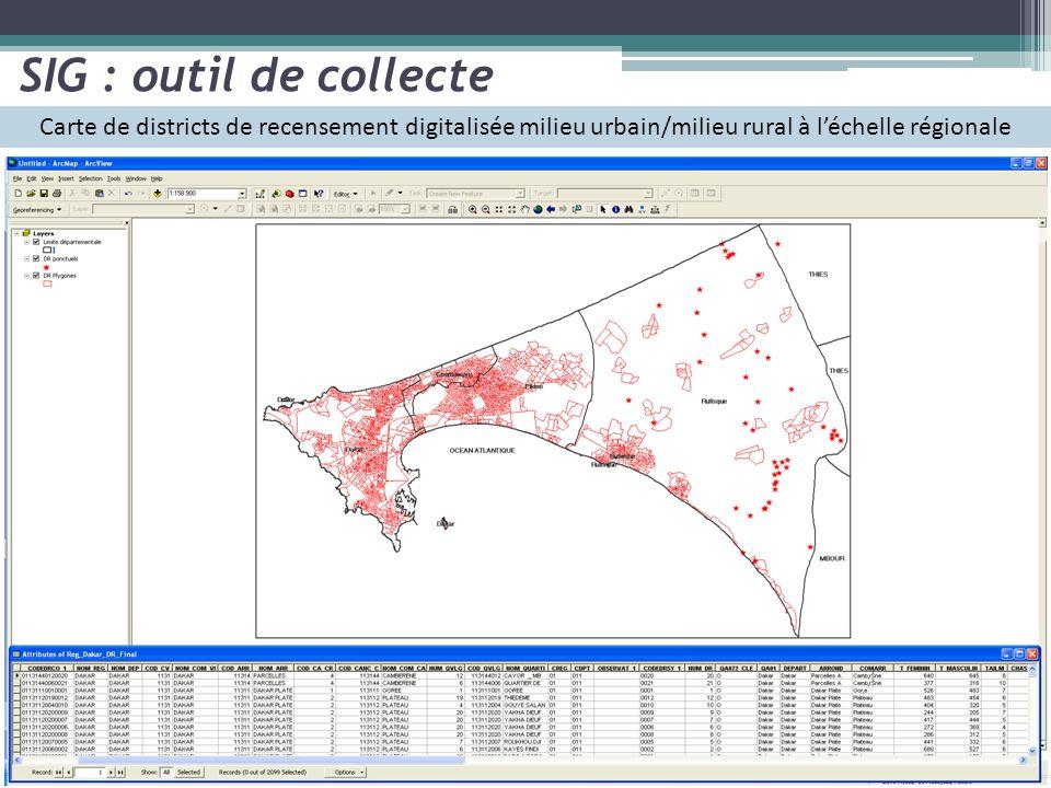 SIG : outil de collecte Carte de districts de recensement digitalisée milieu urbain/milieu rural à l'échelle régionale.