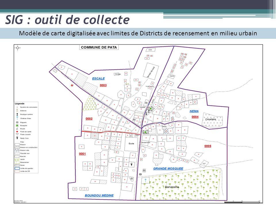 SIG : outil de collecte Modèle de carte digitalisée avec limites de Districts de recensement en milieu urbain.