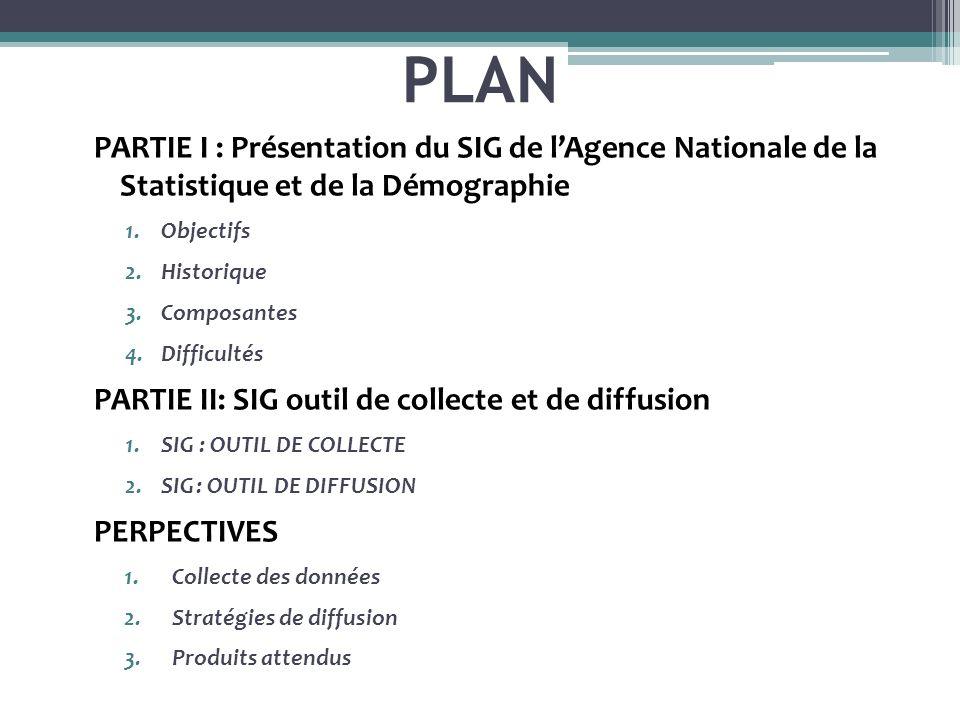 PLAN PARTIE I : Présentation du SIG de l'Agence Nationale de la Statistique et de la Démographie.