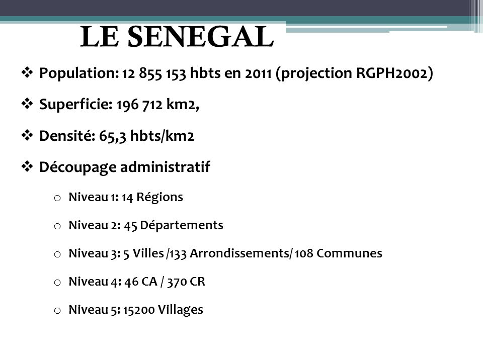 LE SENEGAL Population: 12 855 153 hbts en 2011 (projection RGPH2002)