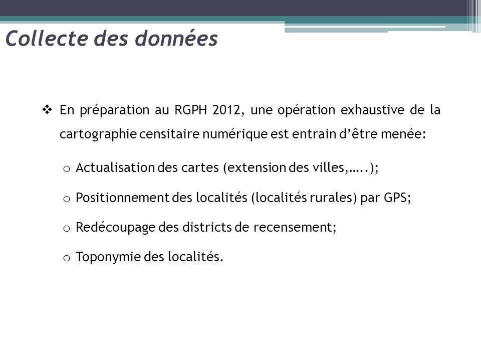 Collecte des données En préparation au RGPH 2012, une opération exhaustive de la cartographie censitaire numérique est entrain d'être menée: