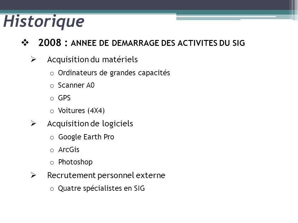 Historique 2008 : ANNEE DE DEMARRAGE DES ACTIVITES DU SIG
