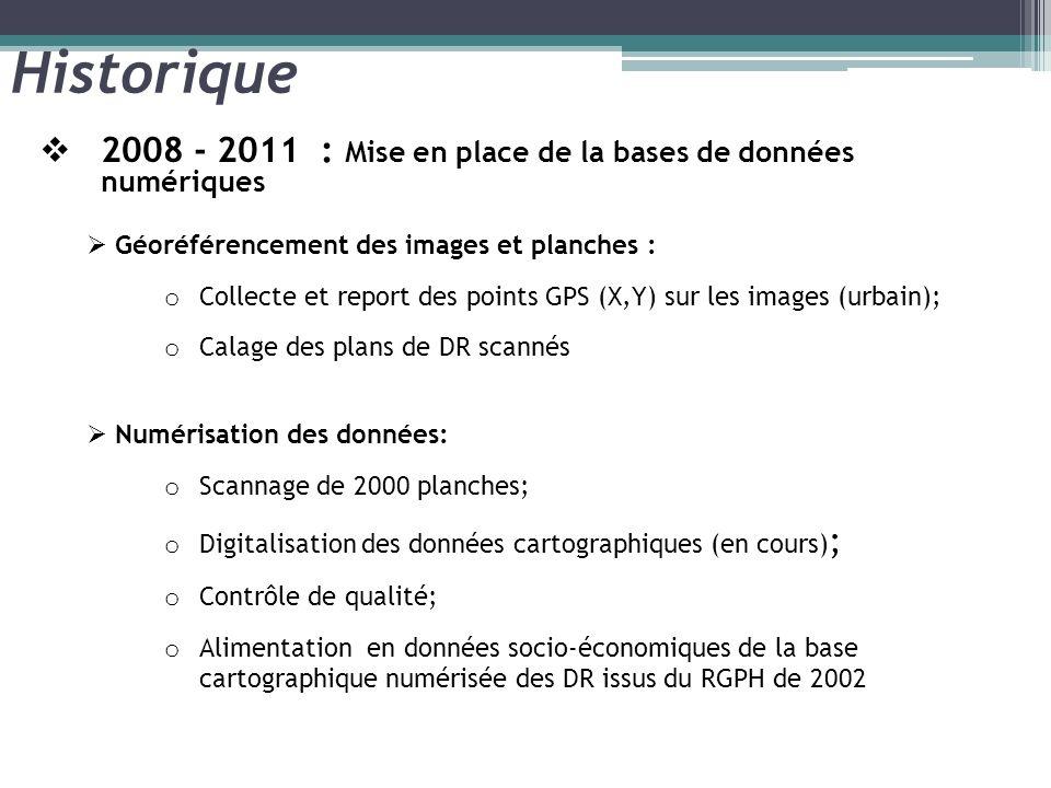 Historique 2008 - 2011 : Mise en place de la bases de données numériques. Géoréférencement des images et planches :