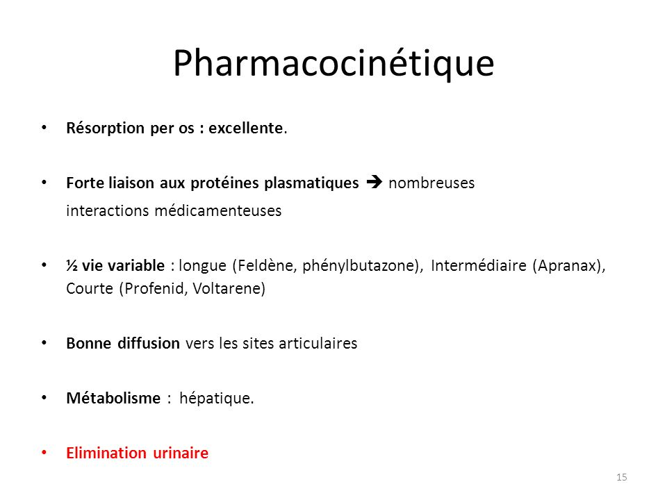 Pharmacocinétique Résorption per os : excellente.