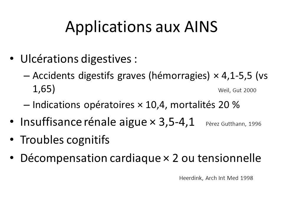 Applications aux AINS Ulcérations digestives :