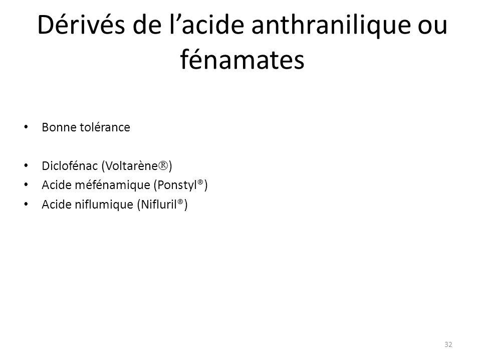 Dérivés de l'acide anthranilique ou fénamates
