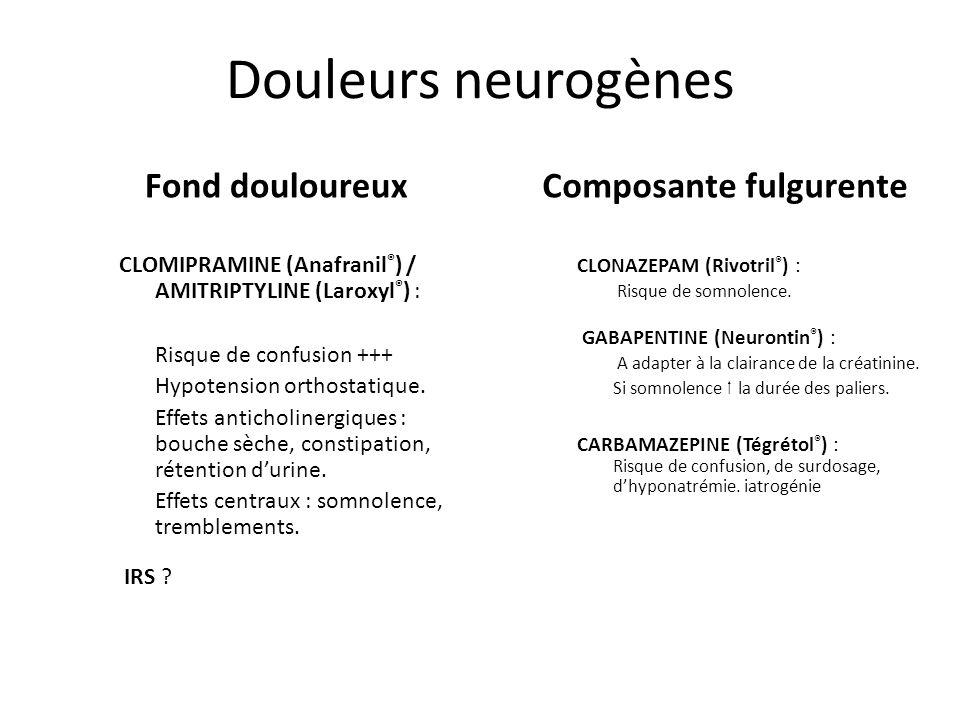 Douleurs neurogènes Fond douloureux Composante fulgurente