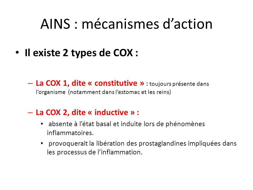 AINS : mécanismes d'action