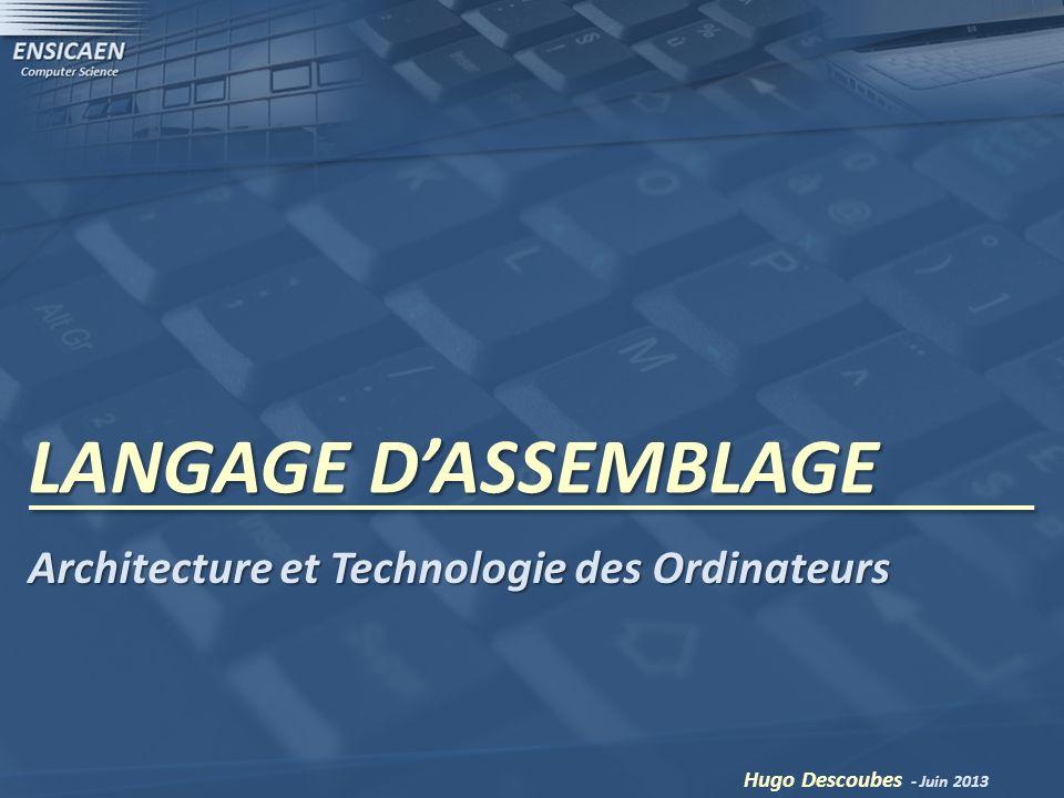 LANGAGE D'ASSEMBLAGE Architecture et Technologie des Ordinateurs