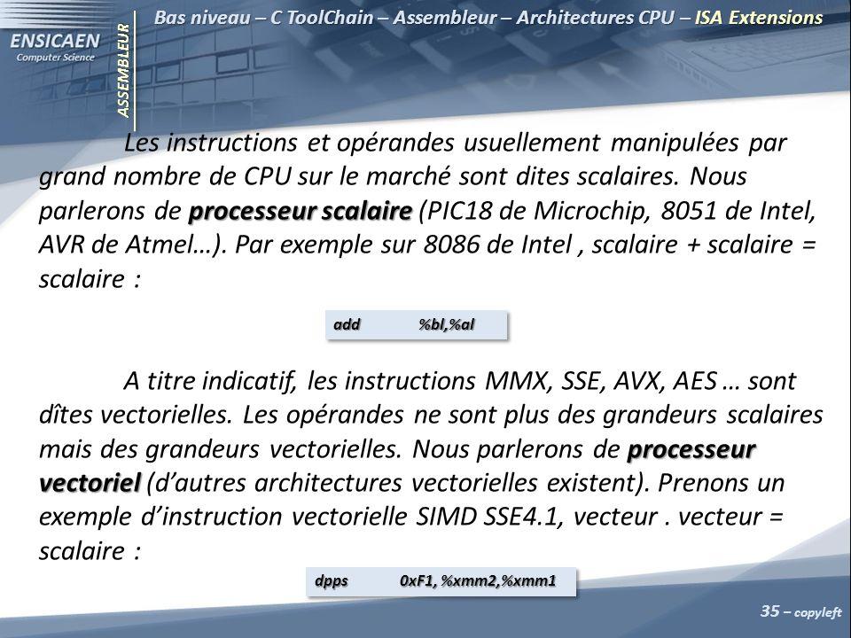 Bas niveau – C ToolChain – Assembleur – Architectures CPU – ISA Extensions