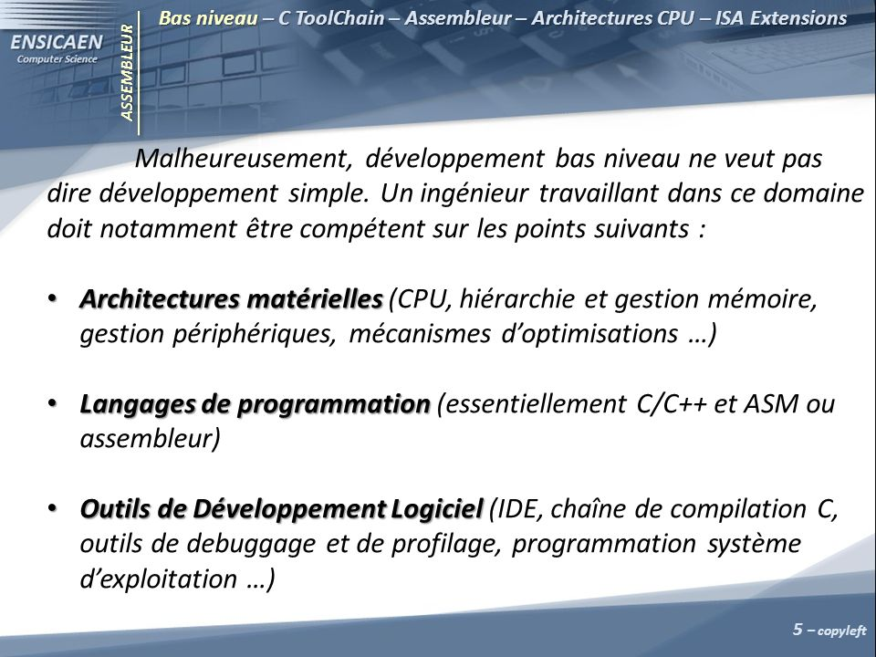 Langages de programmation (essentiellement C/C++ et ASM ou assembleur)