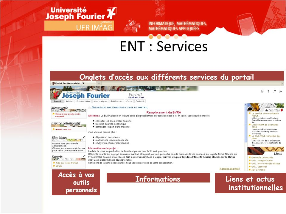 ENT : Services Informations institutionnelles