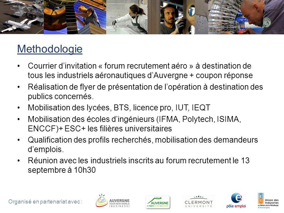 Methodologie Courrier d'invitation « forum recrutement aéro » à destination de tous les industriels aéronautiques d'Auvergne + coupon réponse.