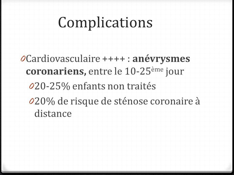 Complications Cardiovasculaire ++++ : anévrysmes coronariens, entre le 10-25ème jour. 20-25% enfants non traités.