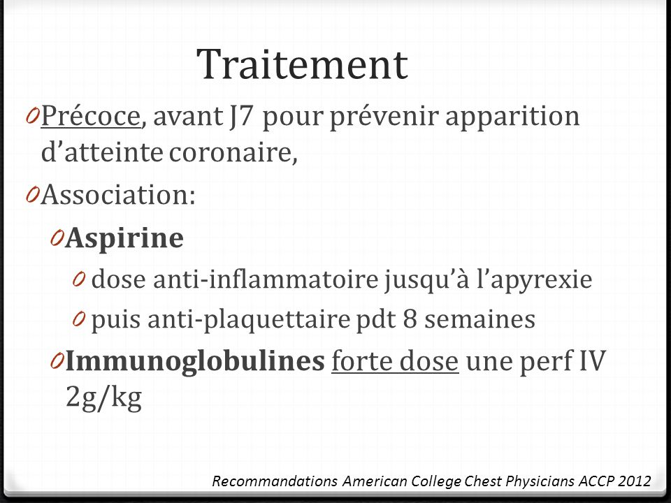 Traitement Précoce, avant J7 pour prévenir apparition d'atteinte coronaire, Association: Aspirine.