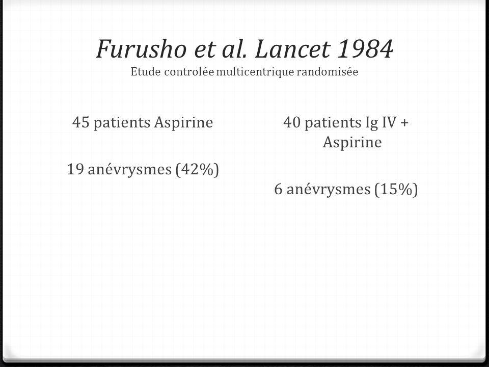 Furusho et al. Lancet 1984 Etude controlée multicentrique randomisée