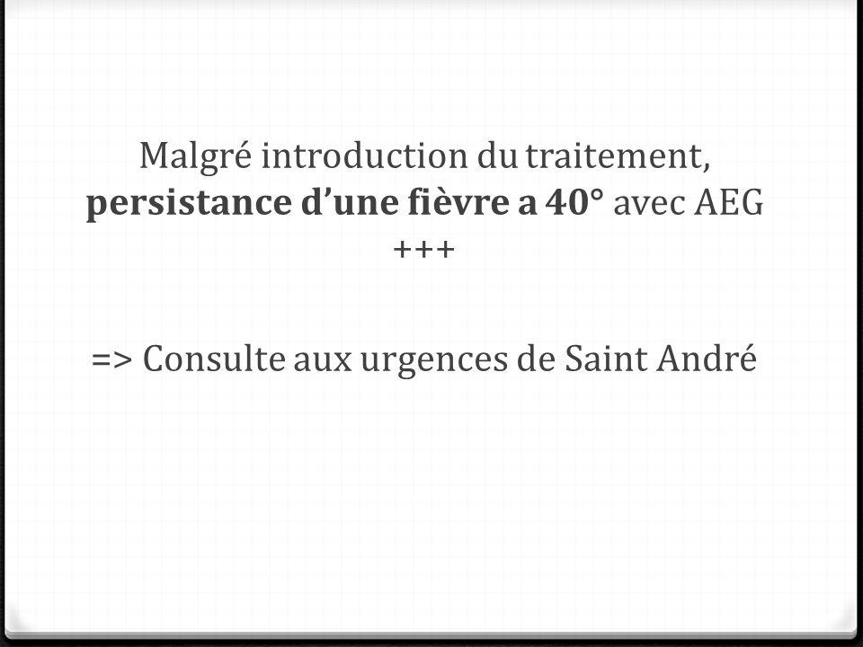 Malgré introduction du traitement, persistance d'une fièvre a 40° avec AEG +++ => Consulte aux urgences de Saint André