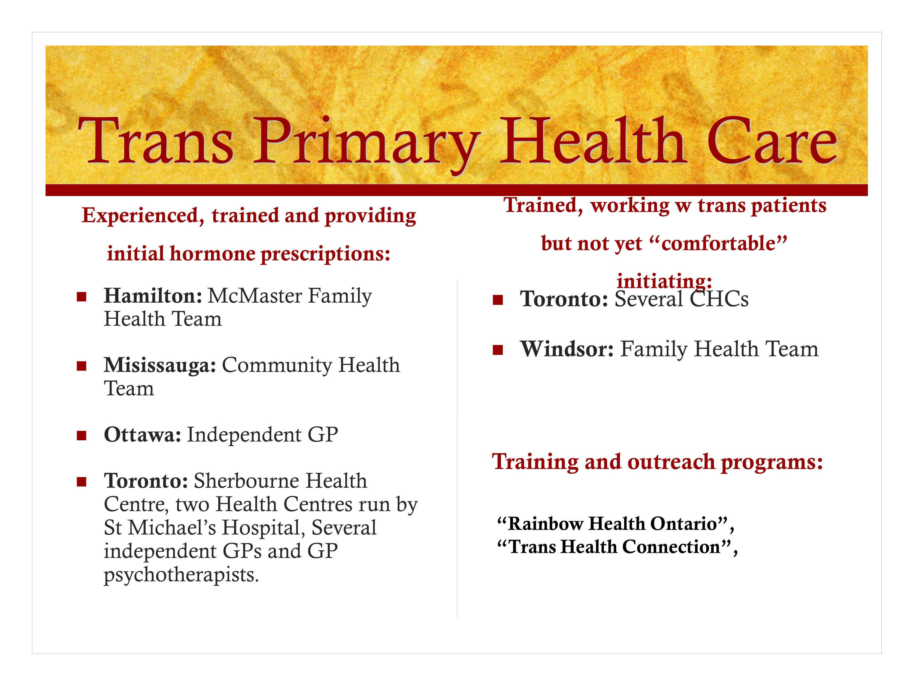 Trans Primary Health Care