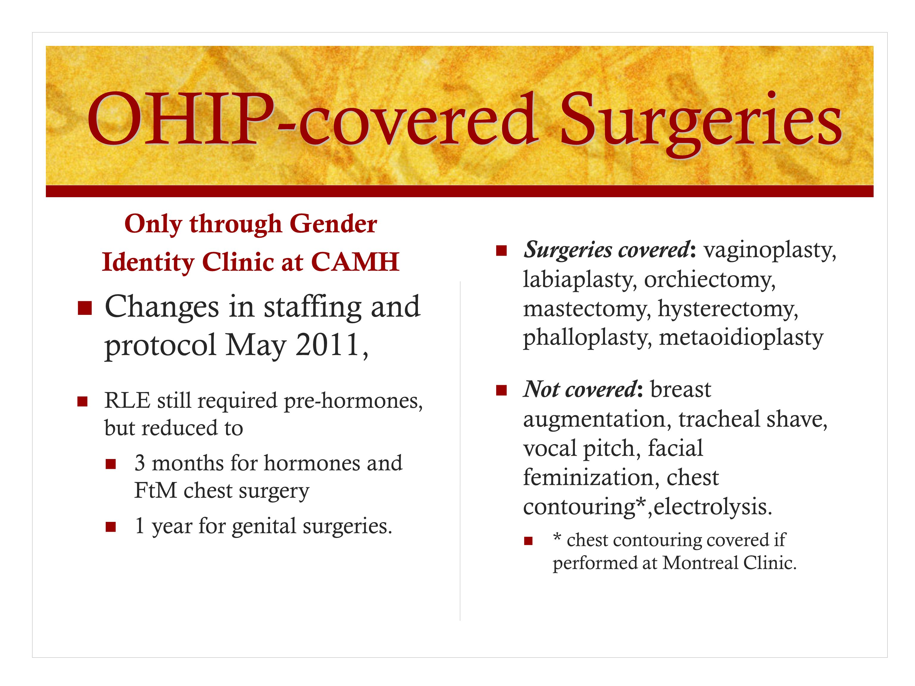 OHIP-covered Surgeries