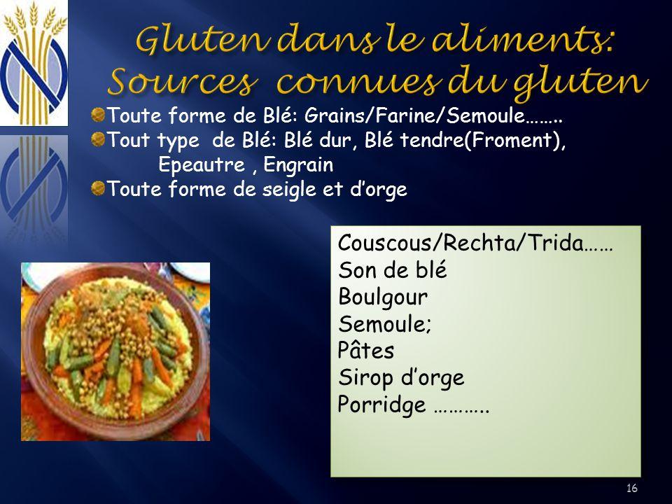 Gluten dans le aliments: Sources connues du gluten