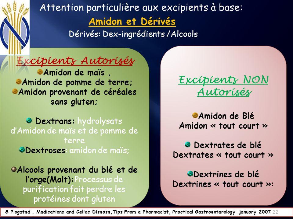 Excipients NON Autorisés Excipients Autorisés