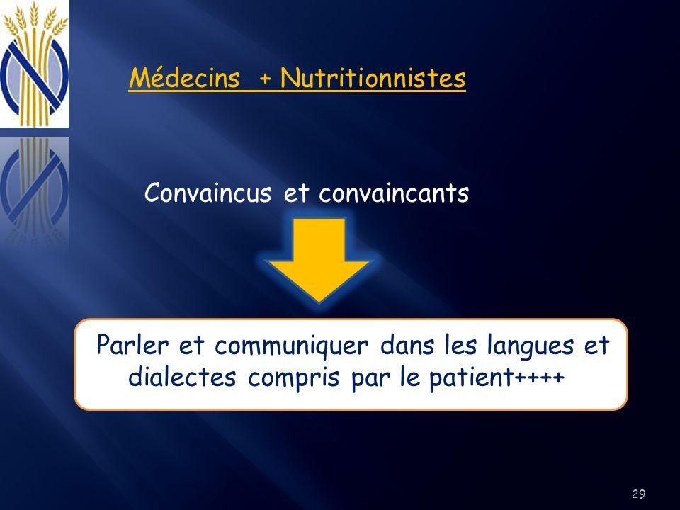 Médecins + Nutritionnistes Convaincus et convaincants Parler et communiquer dans les langues et dialectes compris par le patient++++