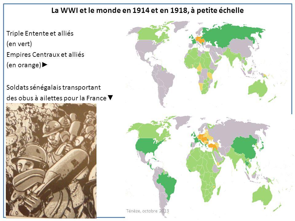 La WWI et le monde en 1914 et en 1918, à petite échelle