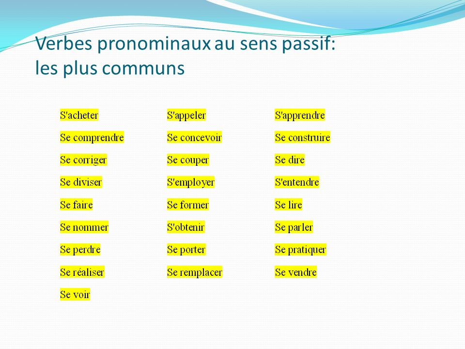 Verbes pronominaux au sens passif: les plus communs
