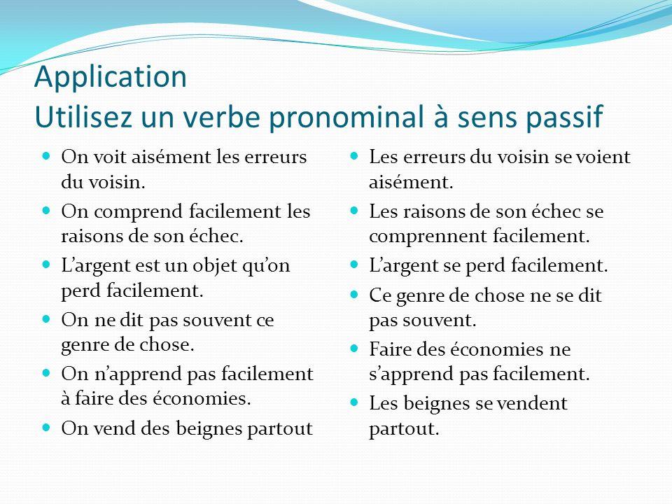 Application Utilisez un verbe pronominal à sens passif