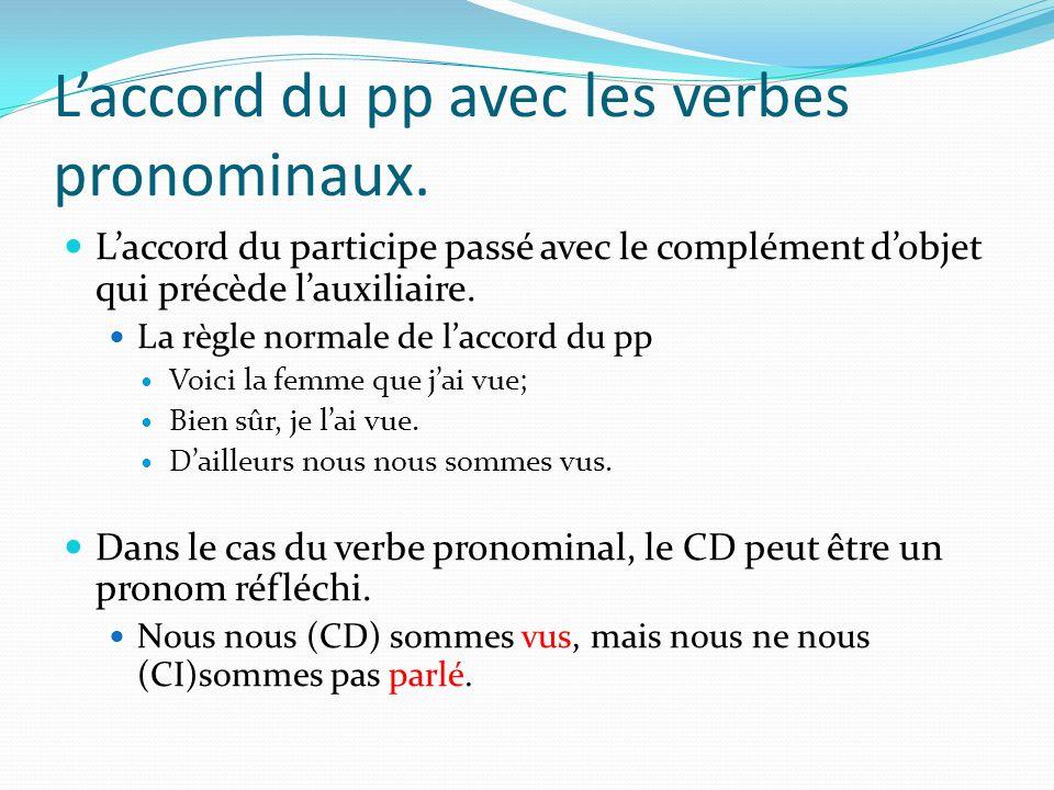 L'accord du pp avec les verbes pronominaux.