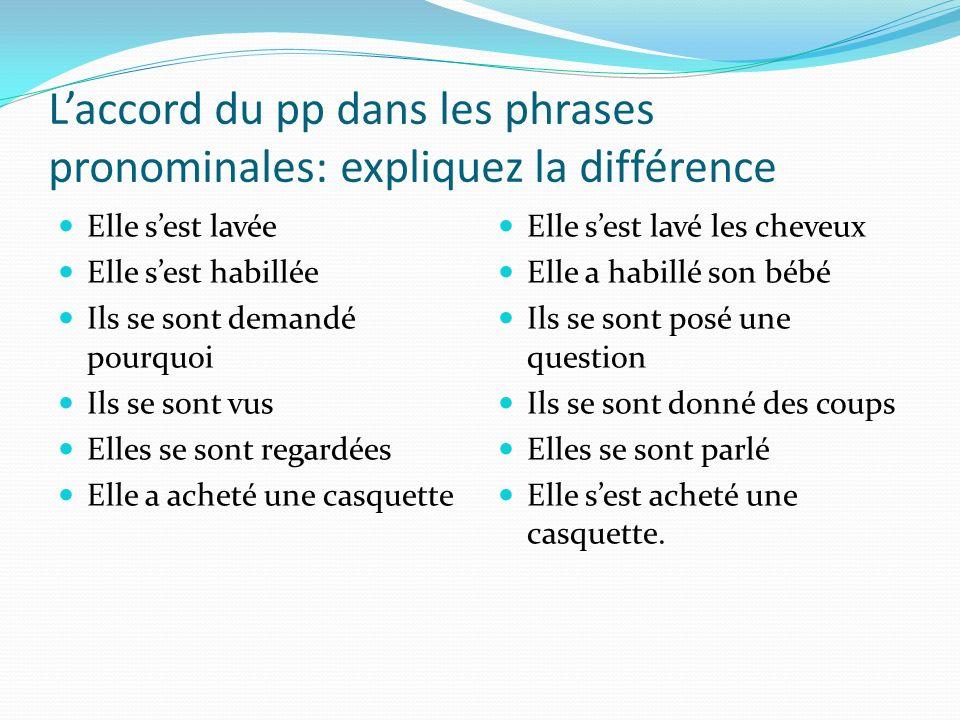 L'accord du pp dans les phrases pronominales: expliquez la différence