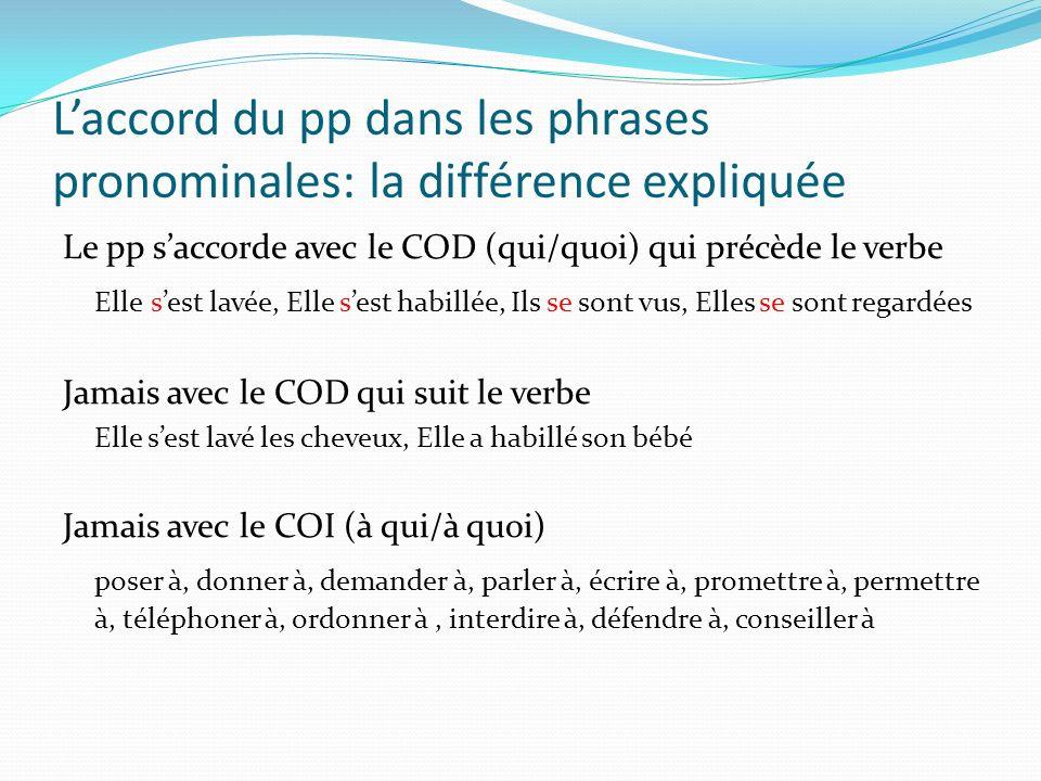 L'accord du pp dans les phrases pronominales: la différence expliquée