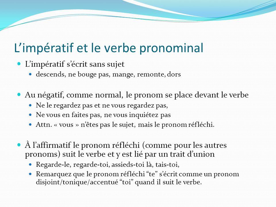 L'impératif et le verbe pronominal