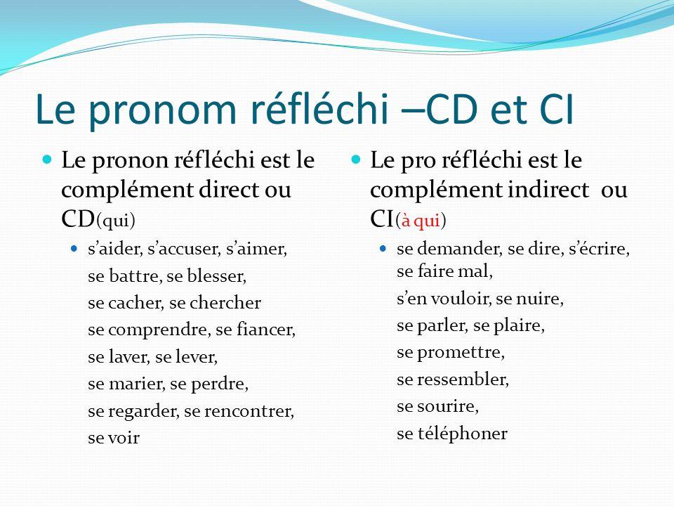 Le pronom réfléchi –CD et CI