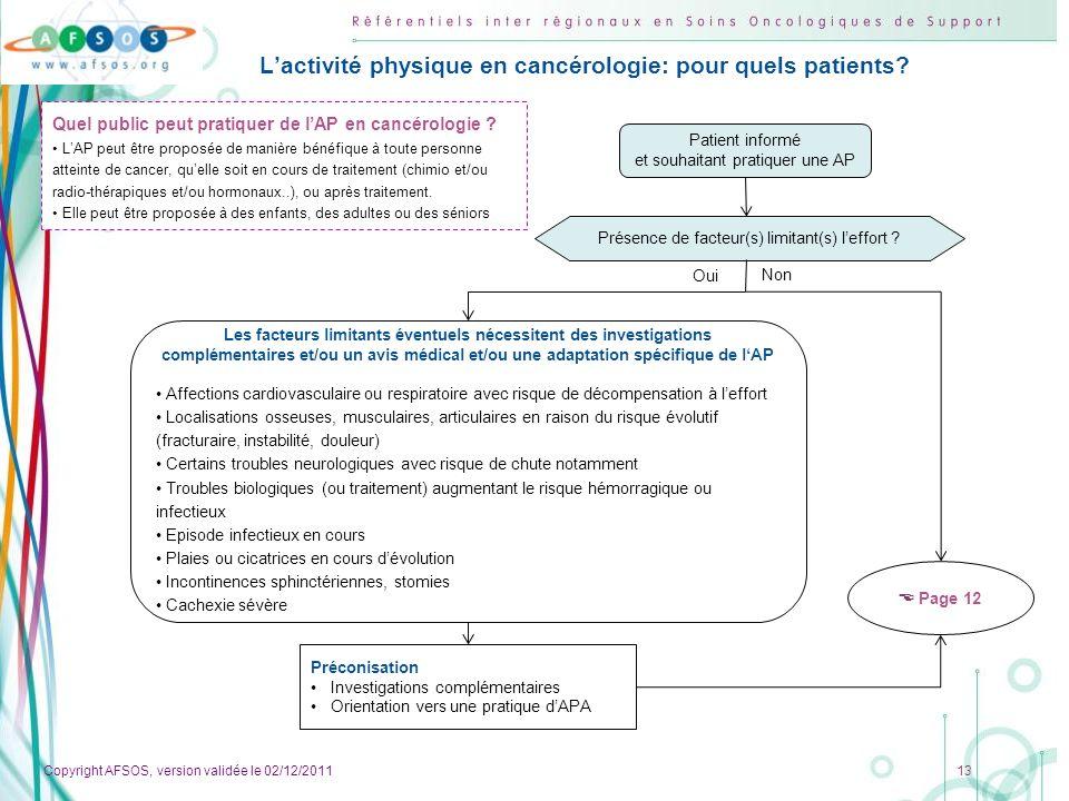 L'activité physique en cancérologie: pour quels patients