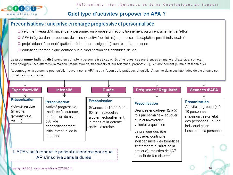Quel type d'activités proposer en APA Fréquence / Régularité