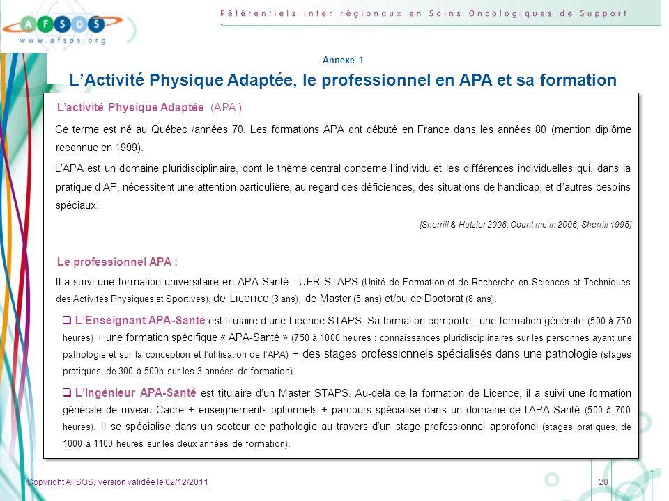 L'Activité Physique Adaptée, le professionnel en APA et sa formation