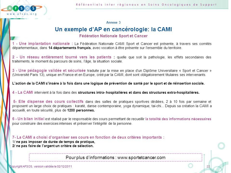 Un exemple d'AP en cancérologie: la CAMI