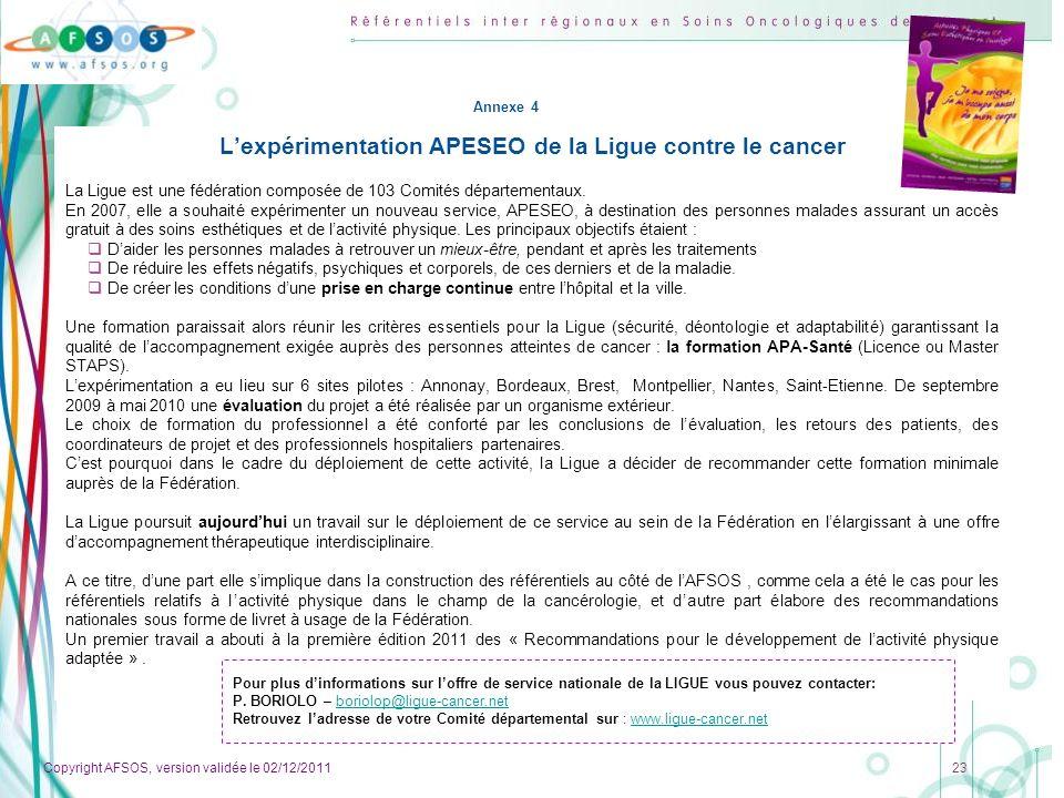L'expérimentation APESEO de la Ligue contre le cancer
